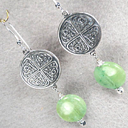Queen Of Sheba Petite Earrings African Green Hemimorphite Silvertone Coin Ancient Biblical Queen