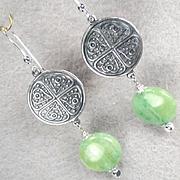 Queen Of Sheba Petite Earrings African Green Hemimorphite Silvertone Coin Ancient Biblical Queen