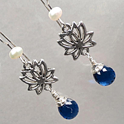GODDESS KUAN YIN Earrings Sapphire-Quartz Glass Briolettes Lotus Silver