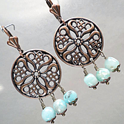 SYBILLA OF JERUSALEM Earrings Peruvian Opal Copper Filigree Chandeliers Medieval Crusader Queen
