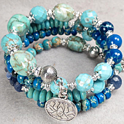 EGYPTIAN GODDESS Coil Bracelet Turquoise Sodalite Agate Jasper Lotus Charms Ancient Egyptian Style