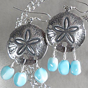GODDESS YEMAYA Earrings Vintage Larimar-Blue Glass Starfish African Sea Goddess