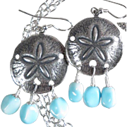 GODDESS YEMAYA Earrings Vintage Larimar-Blue Glass Starfish African Sea Goddess