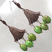 EGYPTIAN GODDESS Earrings Green Czech Art Glass Bronze Lotus Blossom Ancient Egyptian Style
