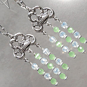 JADIS The Winter Queen Earrings Opalite Glass Frosted Green Chalcedony Silver