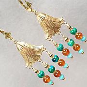 EGYPTIAN GODDESS Earrings Chrysocolla Carnelian Turquoise Lotus Blossom Ancient Egyptian Style