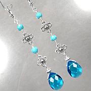 MELUSINE 3 Inch Long Earrings Blue Crystal Magnesite Turquoise Medieval Water Enchantress