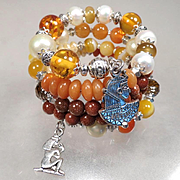 CLEOPATRA Coil Bracelet Amber Carnelian Cultured Pearl Aventurine Ancient Egyptian Queen