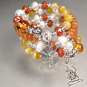 CLEOPATRA Coil Bracelet 2 Amber Carnelian Cultured Pearl Aventurine Ancient Egyptian Queen