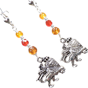 ENGLAND MY LIONHEART Earrings Amber Carnelian Crowned Medieval Lion Charms