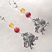 ENGLAND MY LIONHEART Earrings 2 Carnelian Amber Crowned Medieval Lion