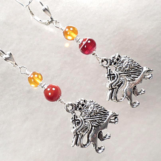 ENGLAND MY LIONHEART Earrings 2 Carnelian Amber Crowned Medieval Lion