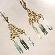 Cliodna Of The Waves Earrings Moss Agate Bronze Swirls Celtic Medieval Goddess