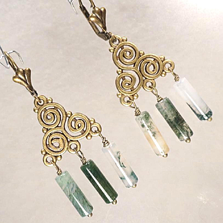 Cliodna Of The Waves Earrings Moss Agate Bronze Swirls Celtic Medieval Goddess