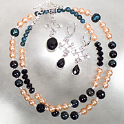 ESCLARMONDE Set Black Onyx Teal Cultured Pearl Midnight-Blue Tiger-Eye Mineral Jet Kyanite Medieval Byzantine Style