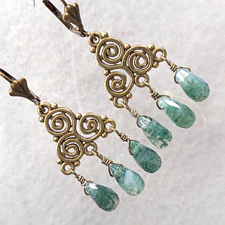 Cliodna Of The Waves Earrings Moss Agate Briolettes Bronze Swirls Celtic Medieval Goddess