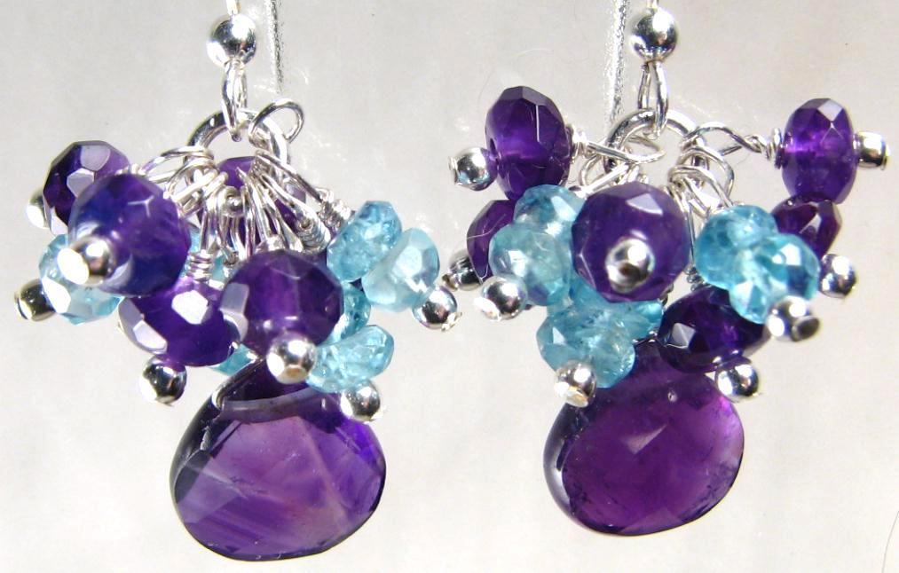AGE OF AQUARIUS Earrings Amethyst Apatite Silver  February Birthstones