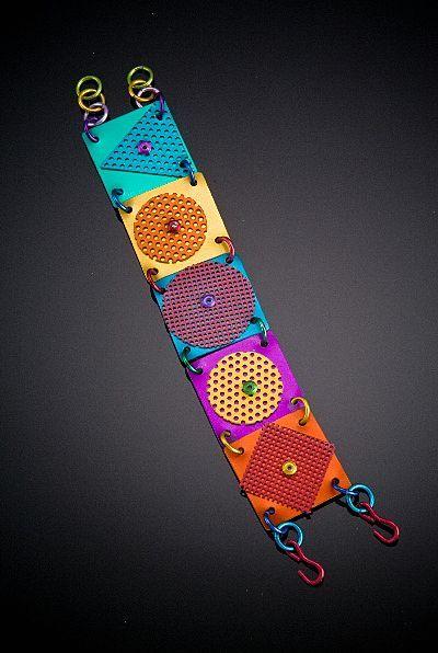 Anodized Aluminum Five Large Square Bracelet with Single Accent