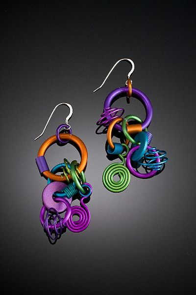 Anodized Aluminum Large Funky Earrings