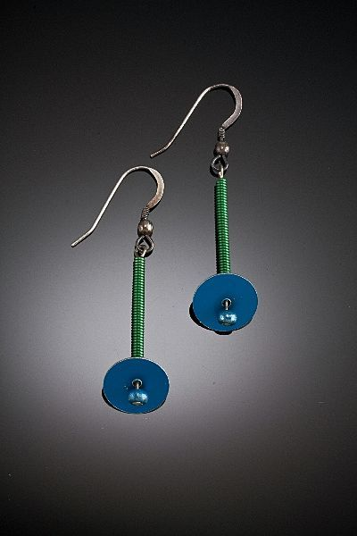 Anodized Aluminum Long Spring and Disc Earrings