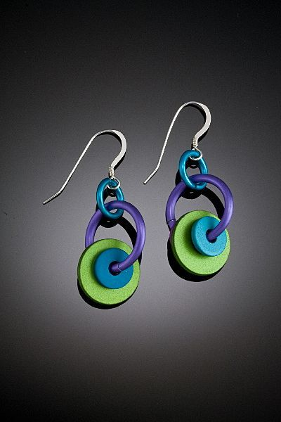 Anodized Aluminum Washer Hoop Earrings