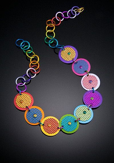 Anodized Aluminum Medium Double Disc Necklaces