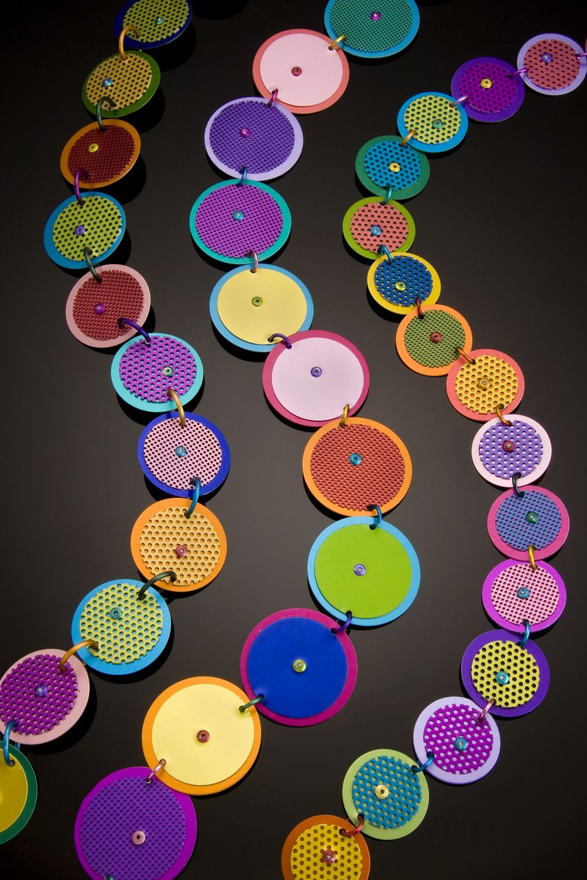 Anodized Aluminum Large Double Disc Necklaces