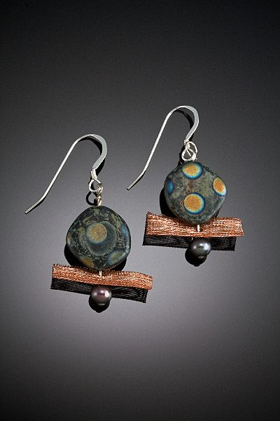 Glass Bead and Metal Mesh Earrings