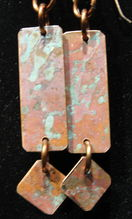 Natural Aged Copper Earrings with Dangle