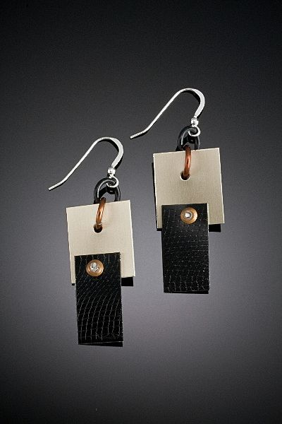 Aluminum, Brass and Copper Drop Earrings