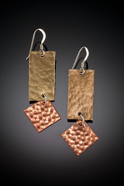 Brass, Copper, and Sterling Dangle Earrings