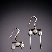 Hand Hammered Sterling Earrings w/ Gemstones, Pearls, or Swarovski Crystals