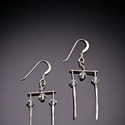 Hand Hammered Sterling Earrings with 14kt. Gold Accents