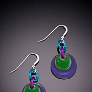 Enameled Circular Earrings with Circular Accents