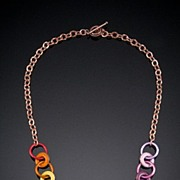 Small Enameled Copper Washer Necklaces