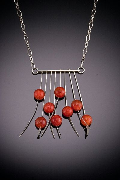 Hand Hammered Sterling Necklaces with 8 Large Accents