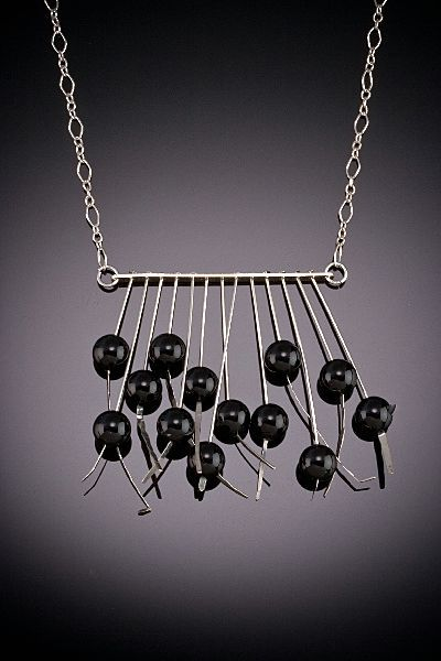 Hand Hammered Sterling Necklaces with 13 Large Accents