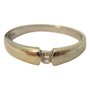 14 Karat White Gold Single 10 Point Diamond Ring