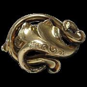 14 Karat Yellow Gold  Art Nouveau Pin/Pendant