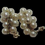 Vintage Cultured Pearls on 14 Karat Yellow Gold Drop Earrings