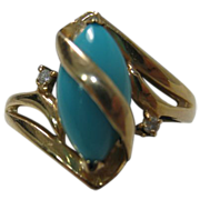 14 Karat Yellow Gold Persian Turquoise Ring With Diamond Accents