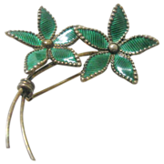 Vintage Sterling Norway Enameled Green Floral Bouquet Pin