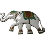 Vintage Sterling Enameled Elephant Pin