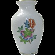 """Herend 6"""" Queen Victoria Pattern Cabinet Vase"""