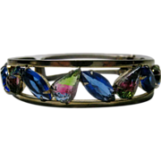 Vintage Silvertone Bangle Enhanced with Cornflower Blue and Watermelon Crystals