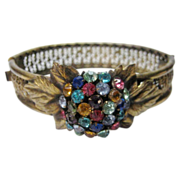 Vintage 1930's Goldtone Filagree Bracelet Enhanced with Multiple Crystals in Pink, Blue, Turquoise and  Citrine Color