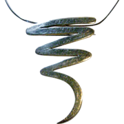 "Sterling Modernist Pin/Pendant on a 16"" Sterling Chain"
