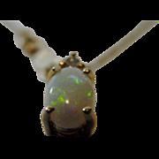 """14 Karat Petite Fiery Opal on Fine 14 Karat 18"""" Long Chain"""