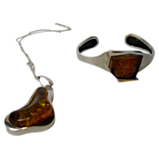 Sterling Silver and Amber Pendant and Bracelet Suite