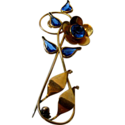 Vintage 1940's Gold Filled Pin with Un-backed Blue Crystals